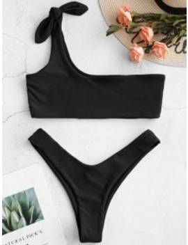 Zaful One Shoulder Bralette Bikini Set   Night M by Zaful