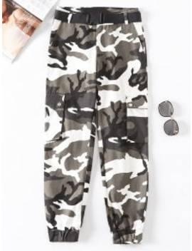 Flap Pockets Camouflage Jogger Pants   Multi B M by Zaful