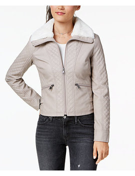 Juniors' Faux Fur Collar Moto Jacket by Coffee Shop