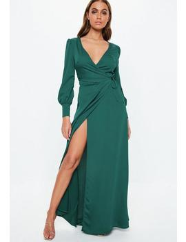 Teal Satin Tie Side Maxi Dress by Missguided