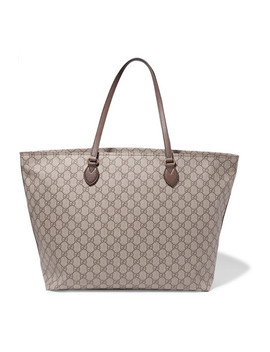 Ophidia East West Leather Trimmed Printed Coated Canvas Tote by Gucci