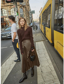 Leather Pleats Skirt   Brown by Low Classic