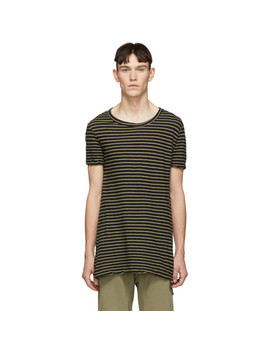 Biege Sinister Stripe T Shirt by Ksubi