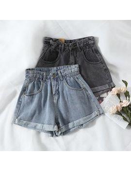 Miss Puff   High Waist Denim Shorts by Miss Puff