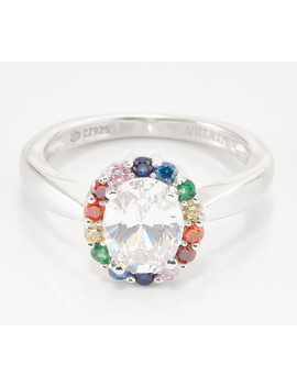 Diamonique Multi Color Halo Oval Ring, Sterling Silver by This Brand