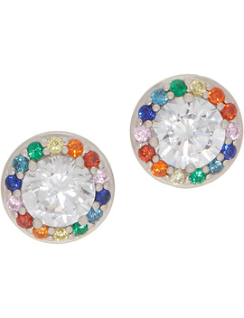 Diamonique Multi Color Halo Stud Earrings, Sterling Silver by This Brand