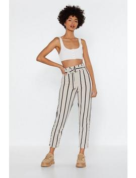 Stripe Up Belted Pants by Nasty Gal