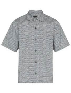 Pattern Print Short Sleeve Cotton Shirt by Prada