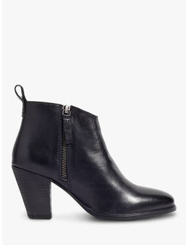 Jigsaw Ansti Block Heel Ankle Boots, Black Leather by Jigsaw