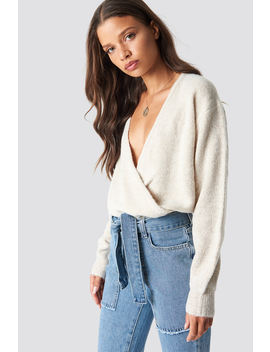 V Neck Overlap Knitted Sweater by Na Kd Trend