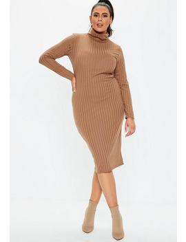 Plus Size Brown Ribbed Midi Dress by Missguided