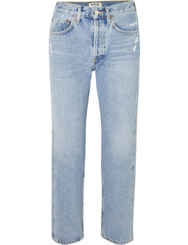 Parker Distressed Cropped Mid Rise Straight Leg Jeans by Agolde
