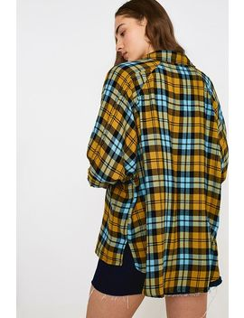 Uo Brendan Essie Plaid Drapey Flannel Button Through Shirt by Urban Outfitters