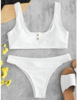 Zaful Ribbed Button Embellished Bikini Set   White S by Zaful