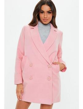 Pink Double Breasted Formal Coat by Missguided
