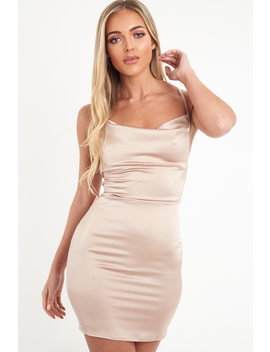 Nude Satin Lace Up Mini Dress   Sira by Rebellious Fashion