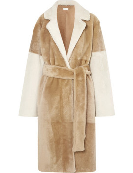 Reversible Paneled Shearling Coat by Utzon