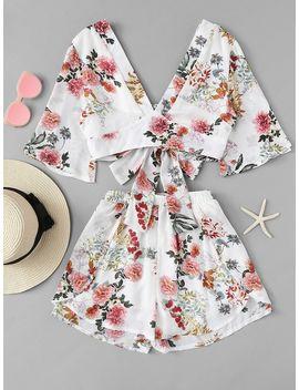 Flower Print Crop Top & Shorts Set by Shein