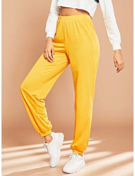 Elastic Waist Solid Pants by Shein