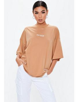 "T Shirt Camel ""New Season"" épaules Tombantes by Missguided"