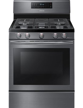5.8 Cu. Ft. Self Cleaning Freestanding Gas Convection Range   Fingerprint Resistant Black Stainless Steel by Samsung