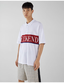 T Shirt Polo Oversize Com Estampado by Bershka