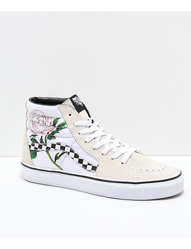 Vans Sk8 Hi Checker Floral Turtle Dove & White Skate Shoes by Vans