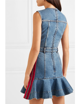 Striped Grosgrain Trimmed Denim Mini Dress by Alexander Mc Queen