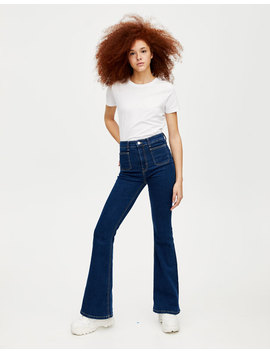 Jeans Acampanados Bolsillo Plastrón by Pull & Bear