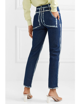 El Two Tone High Rise Straight Leg Jeans by Eckhaus Latta