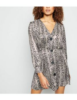Cameo Rose Light Grey Snake Print Smock Dress by New Look