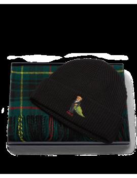 Bear Hat & Plaid Scarf by Ralph Lauren