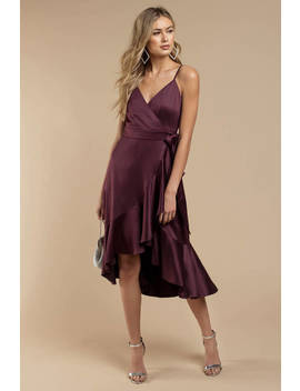 Band Of Gypsies Payton Plum Wrap Dress by Tobi