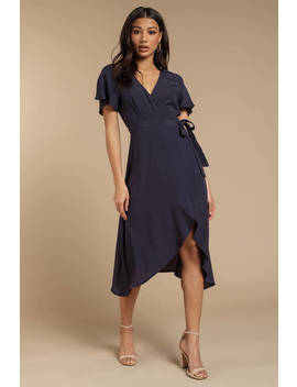 Dani Navy Surplice Midi Dress by Tobi