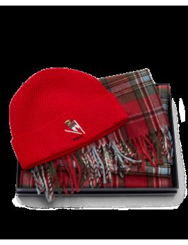 Bear Hat & Plaid Scarf Set by Ralph Lauren