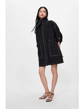 Long Jacket With Contrasting Topstitching  From 60 Percents Off Woman Sale by Zara