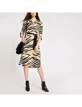 Beige Zebra Print Shirt Dress by River Island