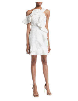 One Shoulder Asymmetric Ruffle Dress by Neiman Marcus