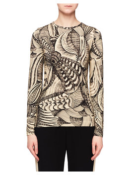 Jewel Neck Long Sleeve Tattoo Print T Shirt by Neiman Marcus