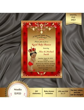 Printable Royal Baby Shower Invitation, Regal Red Gold Card, Prince Baby Boy, Baby Prince, Crown Baby Shower Invitation   Printable, Bbs03 by Etsy