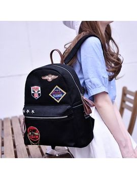 Super Lover   Applique Canvas Backpack by Super Lover