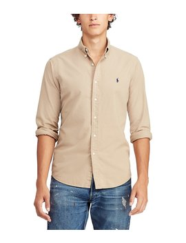 Big & Tall Solid Garment Dye Oxford Long Sleeve Woven Shirt by Polo Ralph Lauren