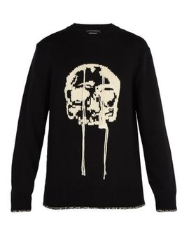 Chunky Intarsia Skull Wool Sweater by Alexander Mc Queen
