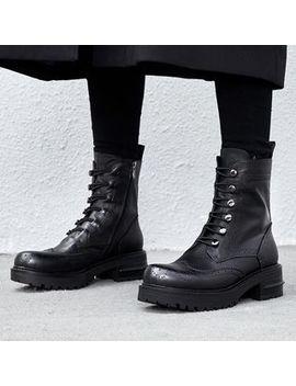 Pangmama   Faux Leather Wing Tip Platform Block Heel Combat Booties by Pangmama