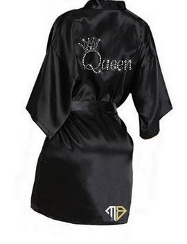 Queen Rhinestone Diamante Kimono Satin Robe   Diamante Robe   Custom Kimono Satin Robe   Rhinestone Robes by Etsy