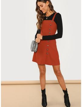 Button Front Pinafore Dress by Shein