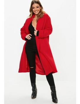 Red Shawl Collar Midi Coat by Missguided