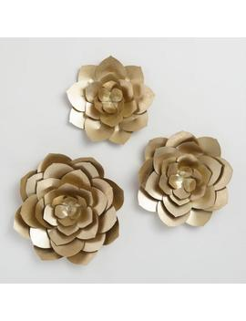 Gold Metal Flowers Wall Art Set Of 3 by World Market