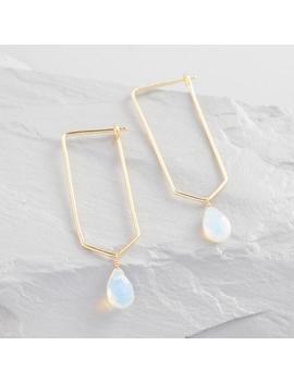 Gold And Opal Geometric Long Hoop Earrings by World Market