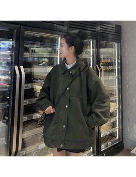 Kakaga   Faux Suede Buttoned Oversized Jacket by Kakaga